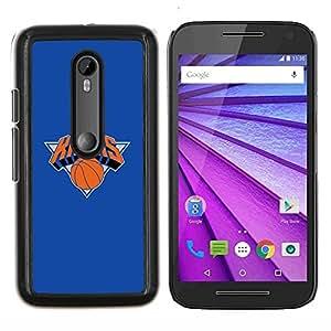 KNICKS Baloncesto- Metal de aluminio y de plástico duro Caja del teléfono - Negro - Motorola Moto G (3rd gen) / G3