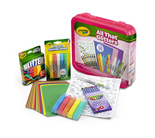 Crayola All That Glitters, Art Set, Over 50 Pieces, Gift for Kids, Age 5, 6, 7, 8
