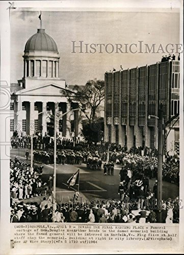 1964 Wire Photo Funeral cortege of General Douglas MacArthur in Norfolk - Norfolk Macarthur