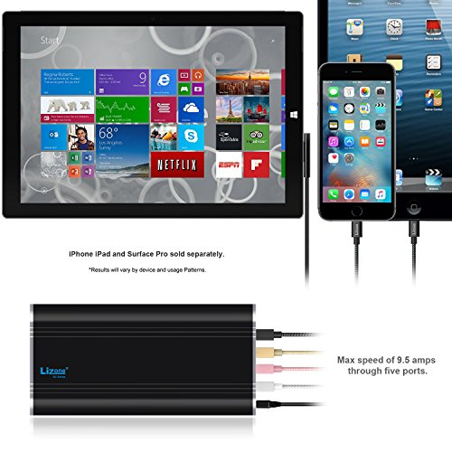 Lizone QC 35000mAh 5 Ports handheld Charger External Battery payment for 12V Microsoft exterior Pro3 Pro4 exterior Book Apple new MacBook 12 inch iPad iPhone 6 6S Plus 5S 5C 5 4S 4 Black handheld strength Banks