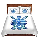 DiaNoche Designs Catherine Holcombe-Turtle Love Blue Brushed Twill Home Decor Bedding Cover, 8 King Duvet Sham Set