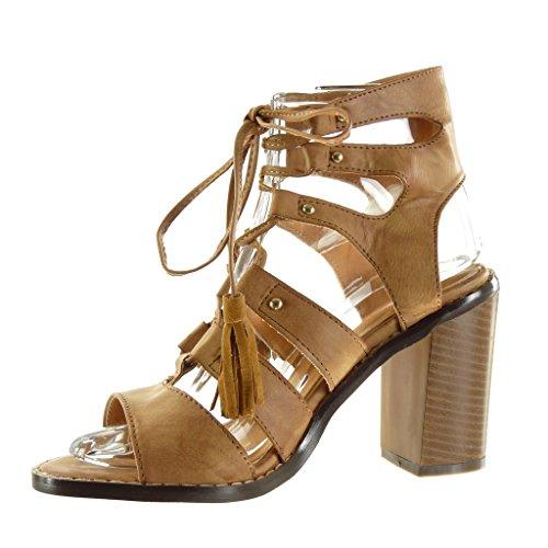 Angkorly - Zapatillas de Moda Sandalias Botines gladiator sexy mujer fleco pompom tachonado Talón Tacón ancho alto 9.5 CM - Camel