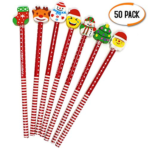 Christmas Themed Colored Pencils and Erasers Set - Perfect for Assorted Bag Fillers, Party Favors, Stocking Fillers, Pinata Stuffers, Kids Xmas