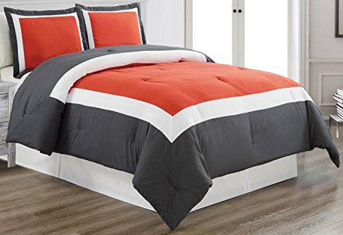 3 piece ORANGE / DARK GREY / WHITE Goose Down Alternative Color Block Comforter set, CAL KING size Microfiber bedding, Includes 1 Oversize Comforter and 2 Shams