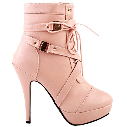 SHOW STORY Baby Pink Buckle Strappy High Heel Stiletto Platform Ankle Boots,LF30470BP38,7US,Baby - Dress Womens Phat Baby