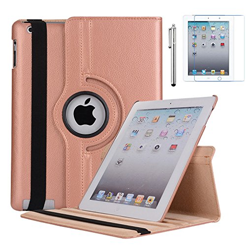 se, Rotating Stand Case Cover for Apple iPad 2nd Gen. (2011), iPad 3rd Gen. (2012), iPad 4th Gen.(2012) [Bonus Film+Stylus] Rose Gold ()