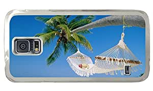Hipster design Samsung Galaxy S5 Case hammock on palm PC Transparent for Samsung S5