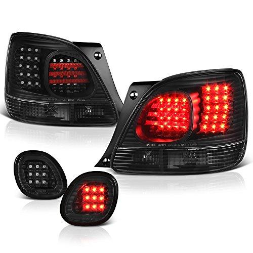 [For 1998-2005 Lexus GS300 GS400 GS430 & Toyota Aristo] VIPMOTOZ Premium LED Tail Light Lamp - Black Housing, Driver and Passenger ()