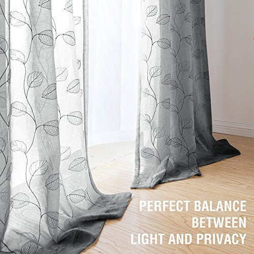 Sheer Curtains for Living Room Curtain Geometric Botanical Tile Embroidered Window Curtains Leaf Semi-sheers 1 Pair,63