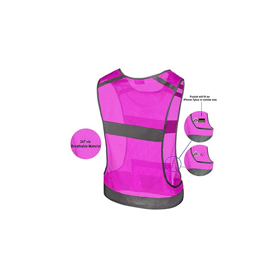 247 Viz Reflective Running Vest Gear Stay Visible & Safe Ultra Light & Comfortable Motorcycle Reflective Vest Large Pocket & Adjustable Waist Safety Vest Free Bands