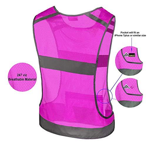 247 Viz Reflective Running Vest Gear | Stay Visible & Safe | Ultra Light & Comfortable Motorcycle Reflective Vest | Large Pocket & Adjustable Waist | Safety Vest | Free Bands (Pink, Medium) by 247 Viz (Image #3)