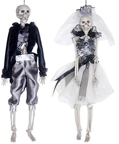 Hanging Skeleton Bride and Groom Couple Silver and Black Halloween Decoration, Set of 2