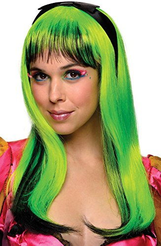[Rubie's Costume Doll Wig, Neon Green/Black, One Size] (Neon Green Wigs)