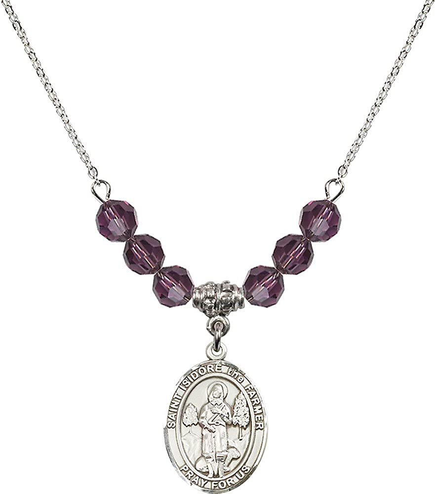 18-Inch Rhodium Plated Necklace with 6mm Amethyst Birthstone Beads and Sterling Silver Saint Isidore the Farmer Charm.