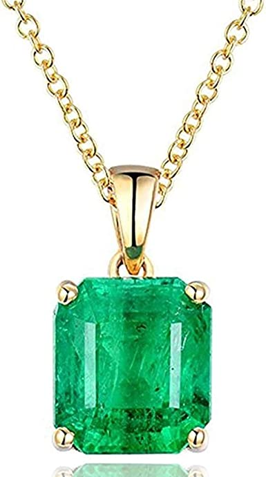 Simple pendant Gifts for her Dainty pendant 18K solid yellow gold emerald diamond pendant