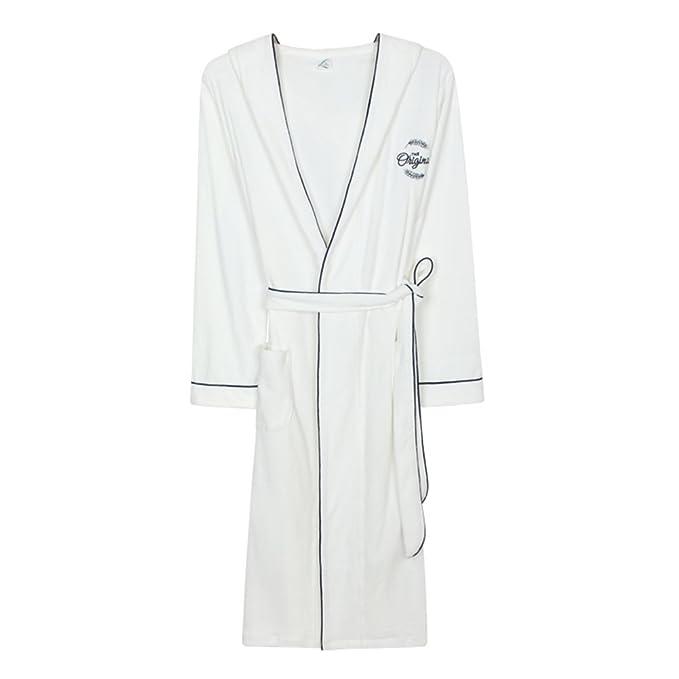 Pijama De Algodón De Túnica Larga De Los Hombres De Blanco Delgado 100% Algodón Material de la toalla Con El Casquillo Hoteles Albornoz: Amazon.es: Ropa y ...
