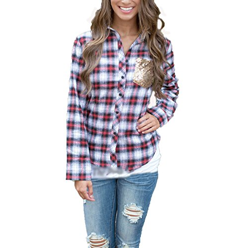 Phoenix Womens Sequin Splice Long Sleeved Plaid Check Casual Button Down Shirt Grey, (Asia L, US 8)