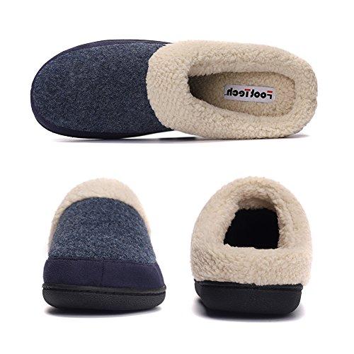 House Lining Slippers Men's Foam Comfotable Blue Slippers Memory Fleece Plush Indoor OwwxTRdf