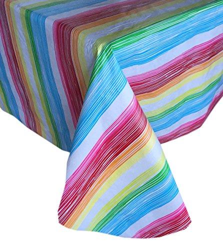 Vinyl Striped (Sunset Brite Stripe Modern Print Indoor/Outdoor Flannel Backed Vinyl Tablecloth, 70