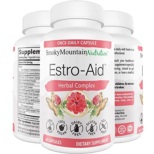 Estro-Aid: Estrogen-Free Menopause Supplements. 60 Capsules (2 Month Supply) DIM Supplement, Black Cohosh, Wild Yam, Chrysin & Red Clover. for Estrogen Balance, PMS & Weight Loss. Non-GMO & Vegan