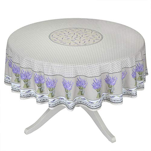 STOF Round Lavande Natural Cotton Provence Tablecloth