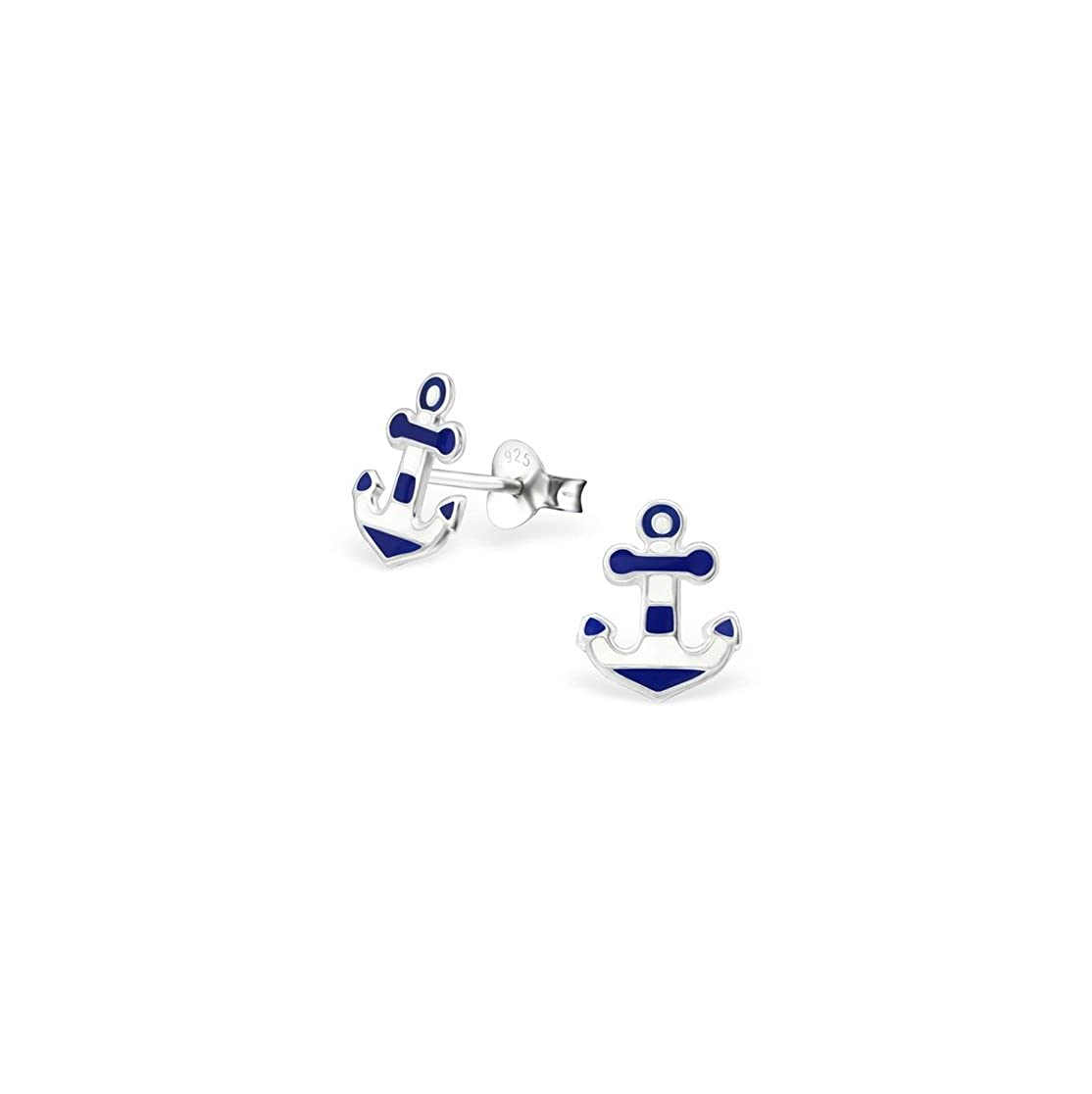 Girls Anchor Colorful Ear Studs 925 Sterling Silver
