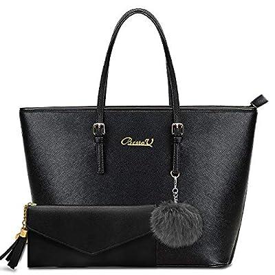 BestoU Handbags for Women Black Large Shoulder Tote Bag for Ladies Purses and Handbags Set