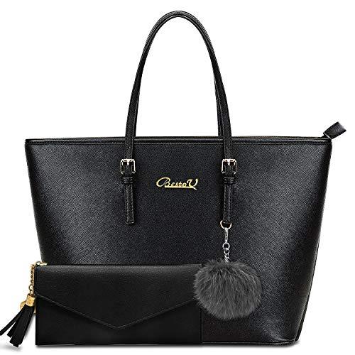 BestoU Handbags for Women Black Large Shoulder