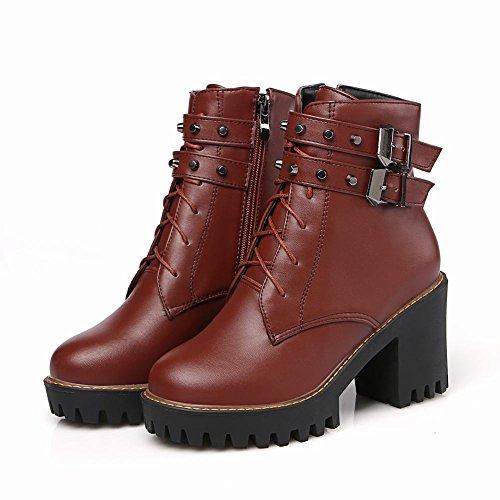 Carolbar Womens Multi Buckle Lace Up Zip Platform High Heel Fall Boots Brown AElMH1lX