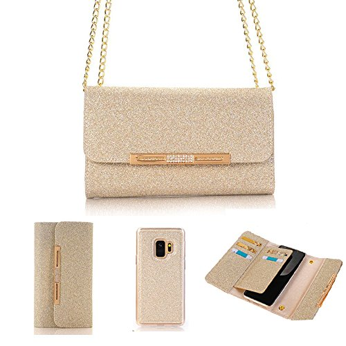 MIYA LTD Wallet Phone Case with Detachable Magnetic Back Case Leather Women Stylish Bling Shiny Multi Envelope Wristlet Handbag Clutch Wallet Cover& Metal Chain for Samsung Galaxy S9 Plus -Gold by MIYA LTD