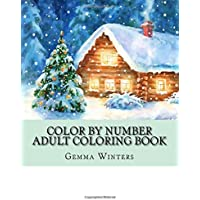 Color By Number Adult Coloring Book Winter Scenes Festive Holiday Christmas Season Large