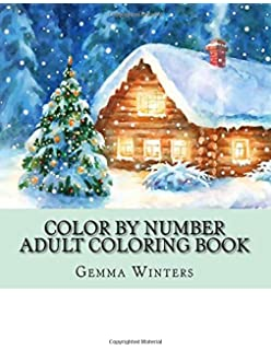 color by number adult coloring book winter scenes festive holiday christmas winter season large