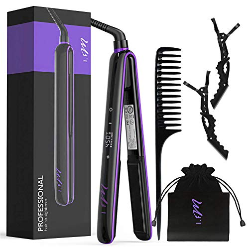 Hair Straightener [Newest 2019], I.FM 2 in 1 Straightens & Curls Flat Iron Ceramic for All Hair, Salon High Heat 265℉-450℉, LCD Digital Display with Touch Screen, Travel Design with Bag