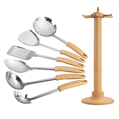 Stainless Steel +plastic 7 Piece Cooking Utensil Set Heat-Resistant Household kitchenware with Natural Beech Handle - Kitchen Utensils Appliances