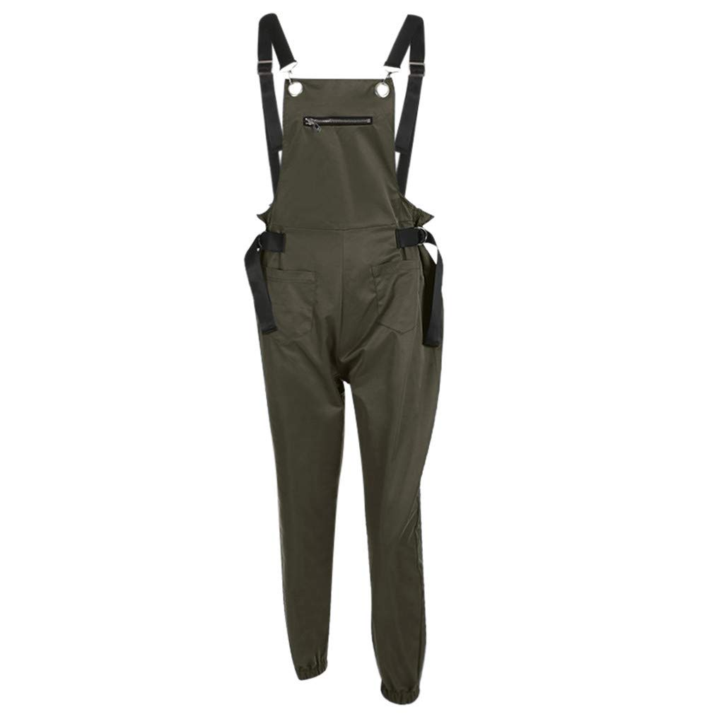 youul Women Loose Bottoms Zip Pants Tights Casual Trousers Jumpsuit Sling Overalls Romper Long Pant (M, Green)