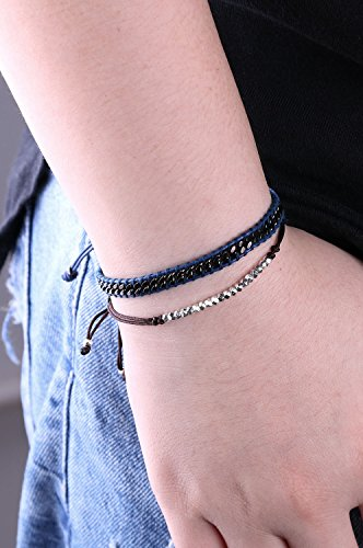 KELITCH 2 Pcs Boho Metal Beads Chain Leather Bracelets Handmade Adjustable Friendship Bracelets Charm Jewelry