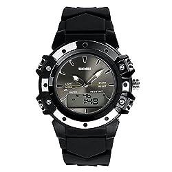 Wearable4U Multifunctional Waterproof Date & Week Display Luminous Sports Dual Time Watch (Black)