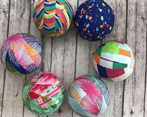 (Bright Summer Patterns fabric wrapped balls- bowl filler orbs)