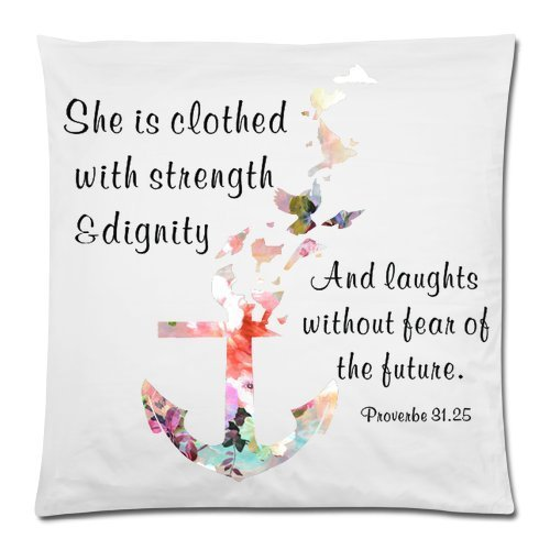 Bible Verse Pillow Case – She Is Clothed With Strength And Dignity – Anchor Pillowcase 18×18 Zippered inch Two Sides