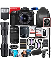 $1599 » Canon EOS 90D DSLR Camera with 18-55mm STM & 75-300mm III Lens Bundle + CO 420-800mm Zoom Telephoto + Premium Accessory Bundle Including 2 x 64GB Memory, Filters, Software Package, Backpack & More