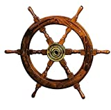 Deco 79 Wood Brass Shipolystonewheel a Low Priced Nautical Wall Decor For Sale