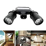 LED Solar Accent Lights Outdoor Dual Head PIR Activated Security Light Floodlight Spotlight Adjustable