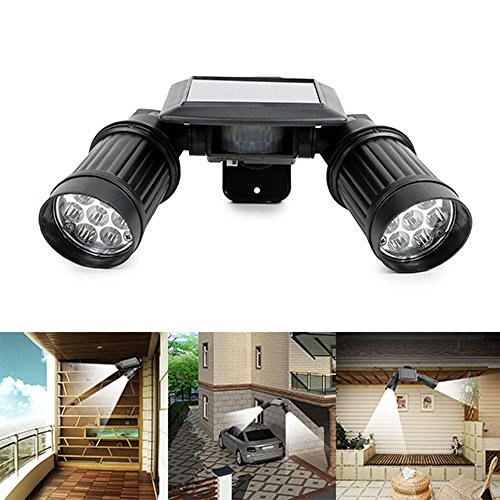 Getza LED Solar Accent Lights Outdoor Dual Head PIR Activated Security Light Floodlight Spotlight Adjustable