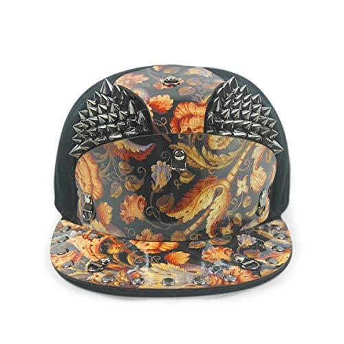 Armor Flat Brim Baseball Cap Warrior Hat Fashion Rivets Hip Hop Visor Hipster Street Cool Hats,E (Herren Hipster)