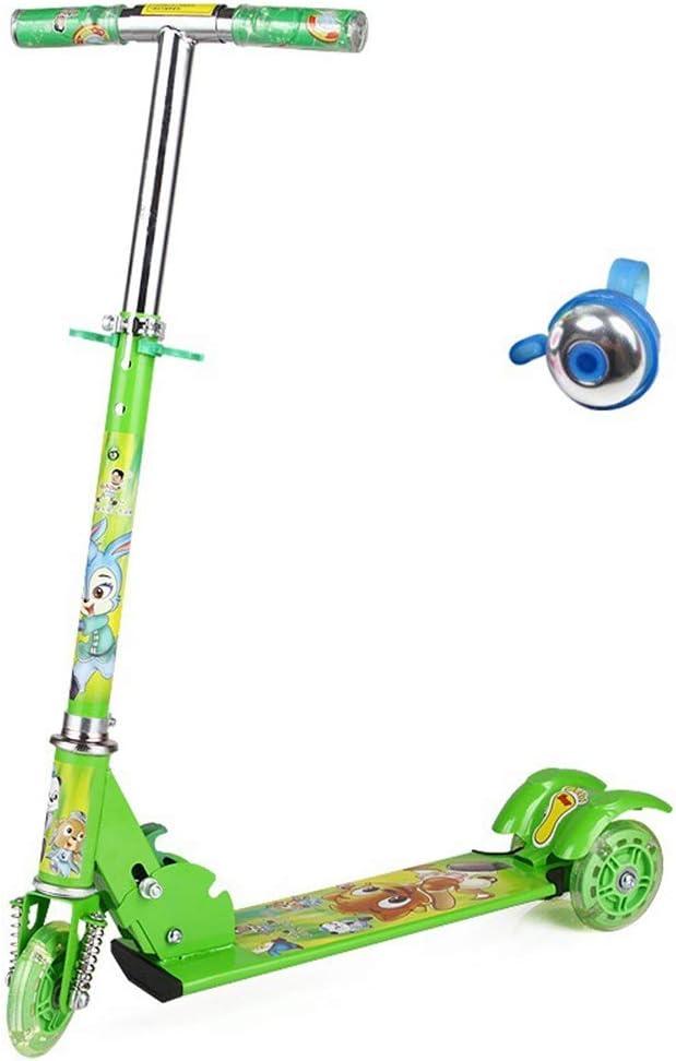 Hkkint 子供の三輪フラッシュスケートボードの自転車に適して、折りたたむことができる、持ち運びする、調整することができます、子供の誕生日プレゼント ( Color : 緑 )