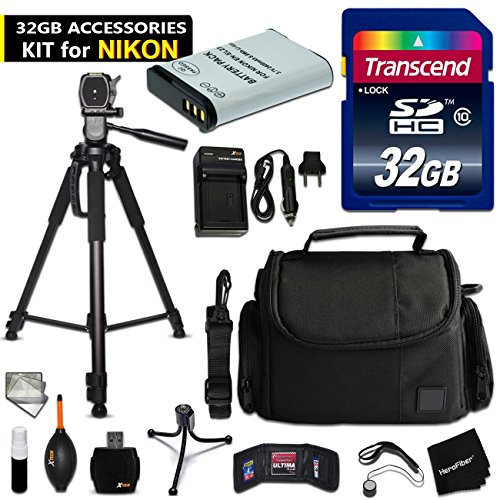 32GB Accessory Kit for Nikon CoolPix B700, CoolPix P900, CoolPix P600, CoolPix P610 includes 32GB High-Speed Memory Card + Fitted Case + EN-EL23 / ENEL23 Battery + AC/DC Charger + Accessories Kit by HeroFiber