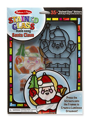 Melissa & Doug Made Easy - Santa Claus Stained Glass (Ornaments Glass Claus Santa)