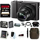 Panasonic Lumix DMC-ZS100 Digital Camera (Black) + Panasonic ZS60 & ZS100 Travel Bundle + Sony 64GB Memory Card + Accessory Bundle