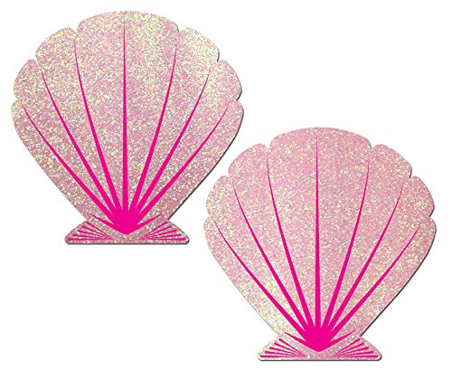 [Glittering Baby Pink and Hot Pink Mermaid Seashell Nipple Pasties by Pastease o/s] (Sea Siren Mermaid Costume)