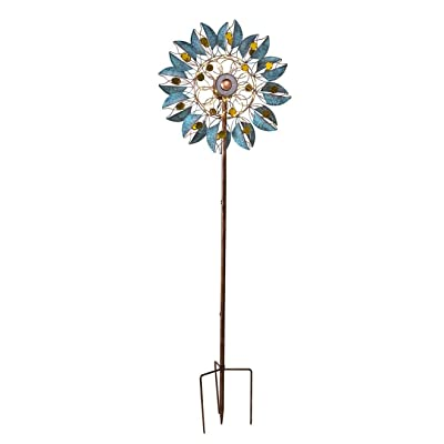 Wind & Weather Verdigris Leaf Solar-Lighted Metal Wind Spinner - 24 Dia. x 10.25 D x 75 H : Garden & Outdoor